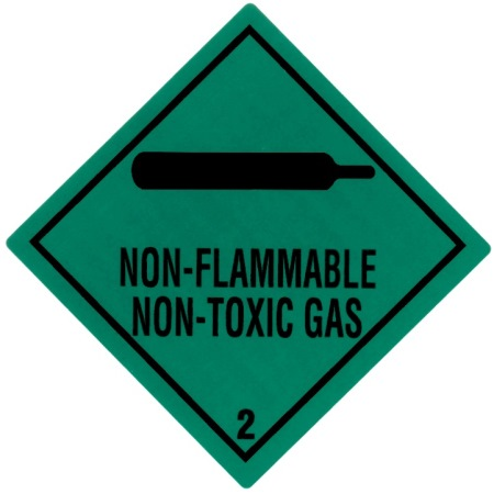 "Containerlabel Klasse 2.2 mit Text ""NON-FLAMMABLE NON-TOXIC GAS"" @dr651"