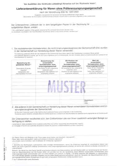 lieferantenerklrung ohne prferenz - Lieferantenerklrung Muster
