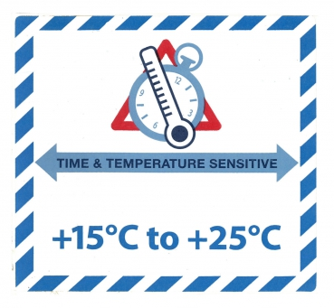 "Gefahrgutetikett ""TIME & TEMPERATURE SENSITIV"" mit Temperatureindruck ""+15°C to +25°C @dr684-15-25"