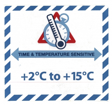 "Gefahrgutetikett ""TIME & TEMPERATURE SENSITIV"" mit Temperatureindruck ""+2°C to +15°C"" @dr684-2-15"