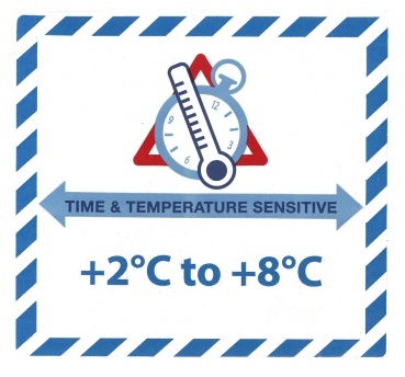"Gefahrgutetikett ""TIME & TEMPERATURE SENSITIV"" mit Temperatureindruck ""+2°C to +8°C"" @dr684-2-8"