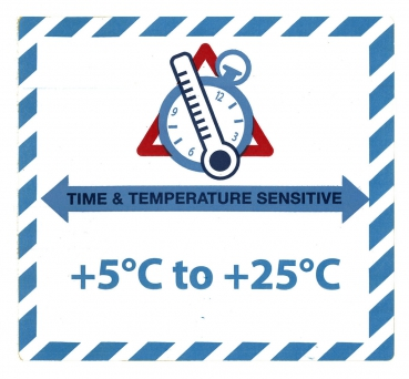 "Gefahrgutetikett ""TIME & TEMPERATURE SENSITIV"" mit Temperatureindruck ""+5°C to +25°C"" @dr684-5-25"